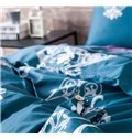 Graceful Damask Blue 4-Piece 100% Cotton Duvet Cover Sets