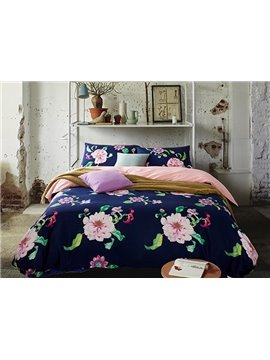 Chic Flower Design Blue Skin 4-Piece Duvet Cover Sets