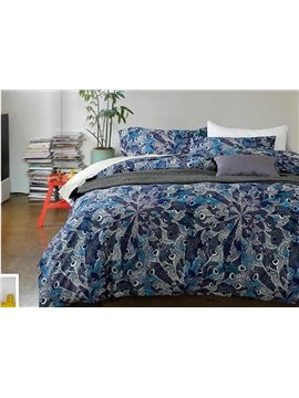 Stylish Abstract Blue 4-Piece Cotton Duvet Cover Sets