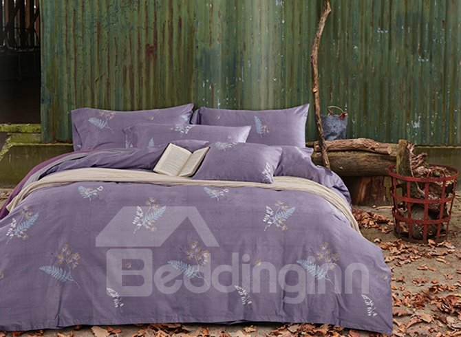 Pure Cotton Pastoral Style Dark Purple 4-Piece Duvet Cover Sets