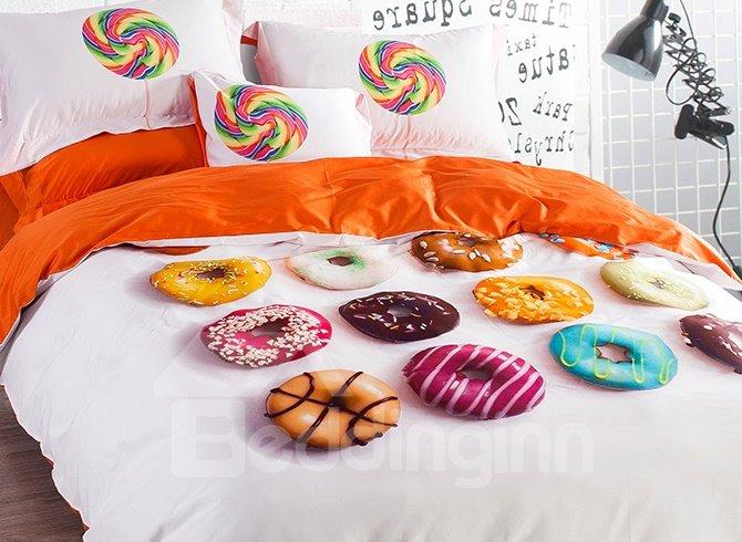 Unique Donuts Design 4-Piece Cotton Duvet Cover Sets
