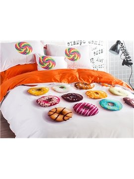 Unique Donuts Design 4-Piece Cotton Duvet Cover Sets