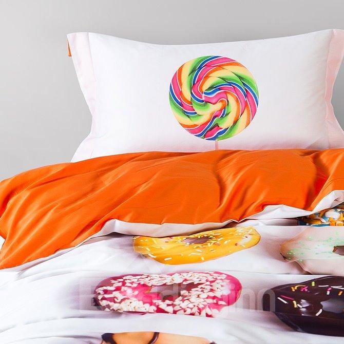 Unique Donuts Design 4 Piece Cotton Duvet Cover Sets