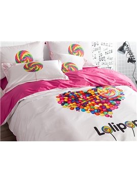 Heart Shape Lollipops Print 4-Piece Cotton Duvet Cover Sets