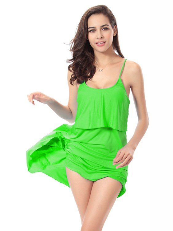 Simple Solid Color Monokini with Shoulder-Straps One-Piece Swimwear
