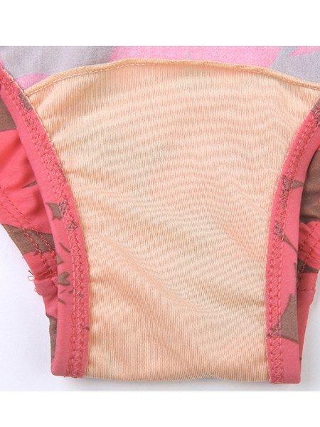 Watermelon Red Flora U-neck Swimwear with Falsies Free Wire Monokini