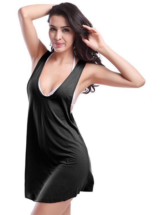 Sexy Solid Color Deep-neck Solid Color Monokini One-piece Swimwear