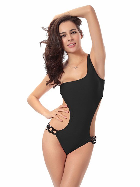 Link Chain Solid Color Sexy Pierced Punk Single Shoulder Monokini