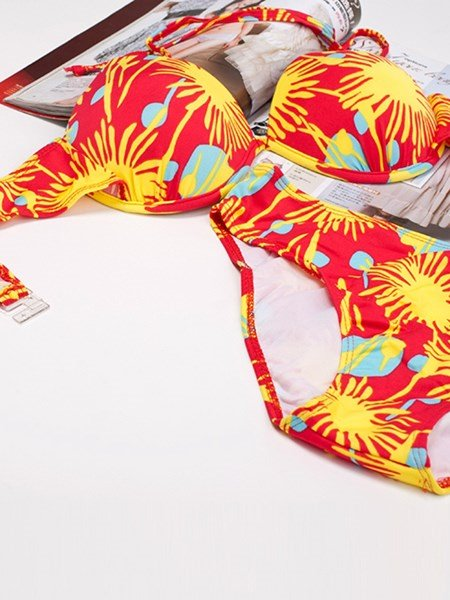 Seductive Colorful Bottom Bra Two-piece Bikini