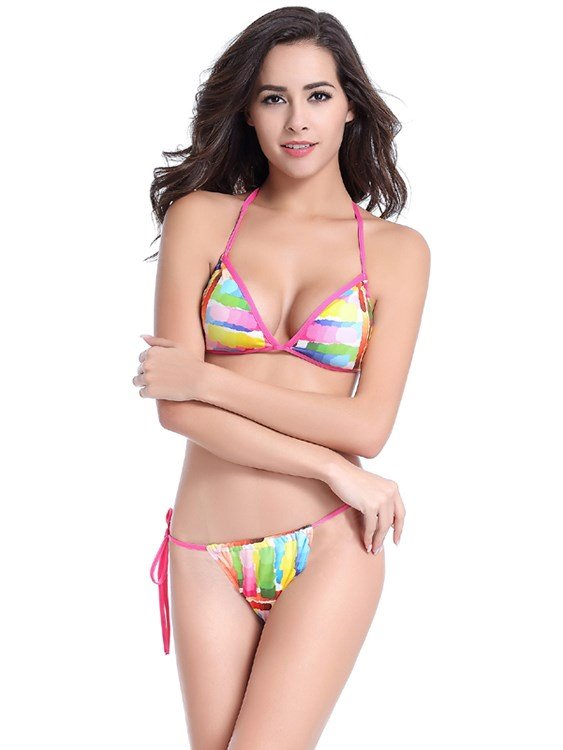 Colorful Women Triangle Two Piece Bikini Set