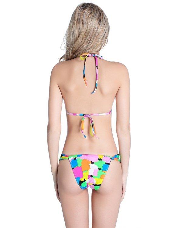 Zebra-stripe and Clolr Blocks Two-piece Halter Bikini