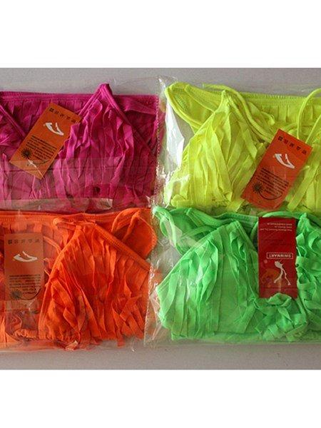 Fashion Fluorescence Color Tassels Two-piece Braces Bikini