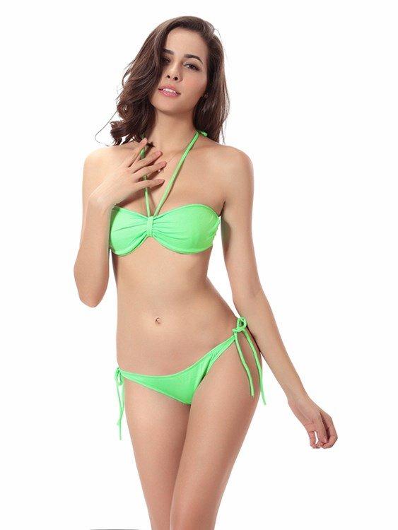 Solid Color Hilter Monokini Pierced One-piece Swimwear