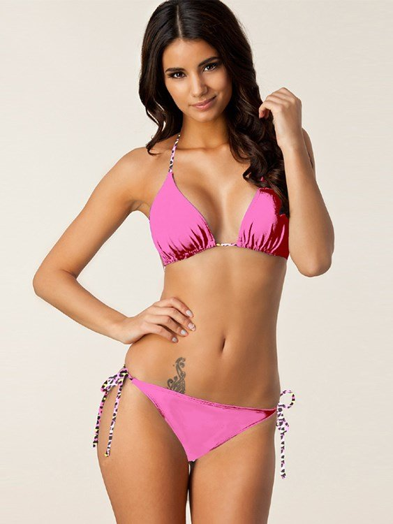 Bandage Women Halter Two-piece Bikini Set