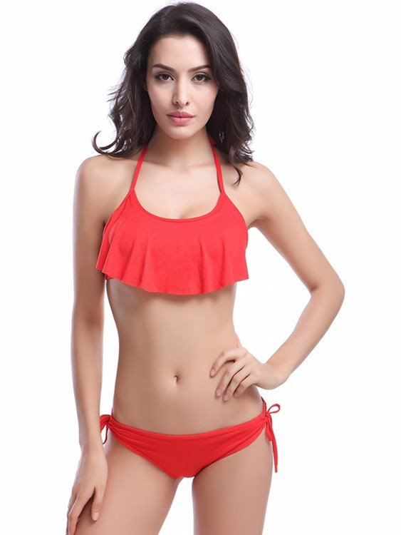 Solid Color Falbala Leather Braces Two-piece Bikini