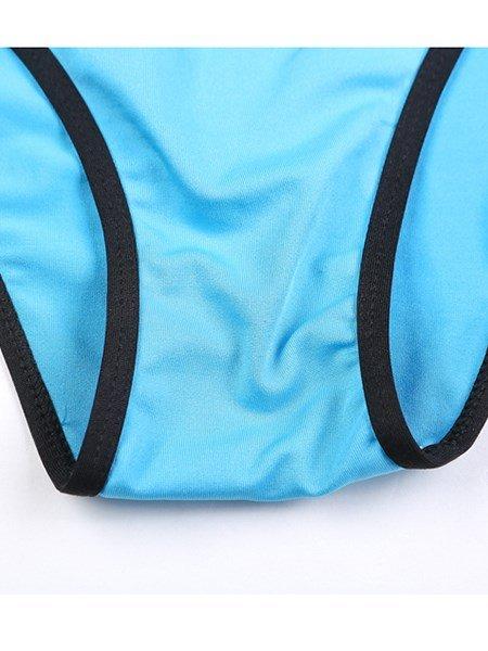 Simple Solid Color Black Edge Two-piece Bikini