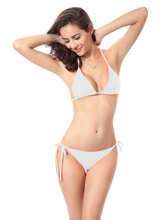 Solid Color Back Lined Triangle Free Wire Bra with Falsies Sexy 2-piece Bikini