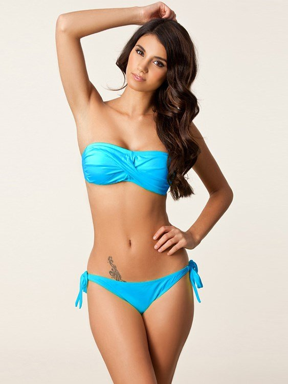 Twist Boob Tube Top Solid Color Two-piece Bikini