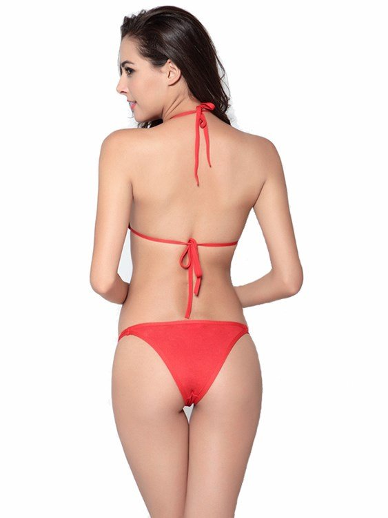 Simple Style Solid Color Triangle Two-piece Bikini