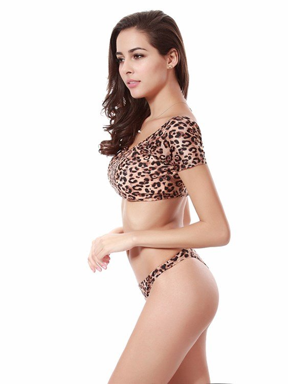Leopard Pattern Sleeved Two-piece Bikini