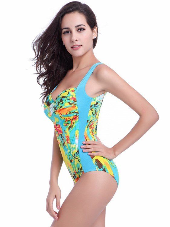 Colorful Leopard Pattern Backless Monokini Polyester One-piece Swimwear