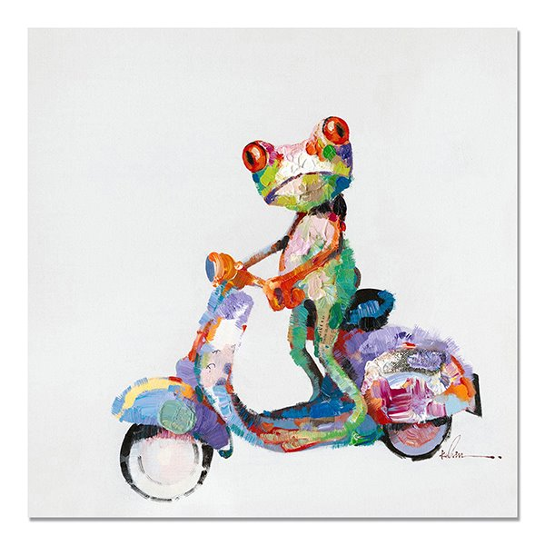 New Arrival Warm Color Abstract Bicycle Frog Oil Painting