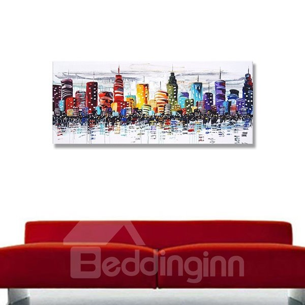 Warm Color Modern City European Style Hand Painted Oil Painting