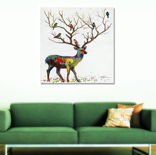 Hand Painted Wall Art new arrival oil painting deer hand painted wall art prints