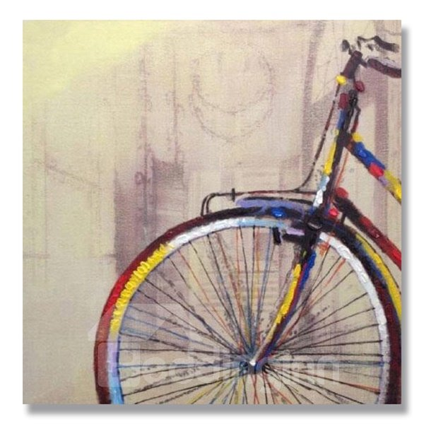 Oil Painting Modern Hand Painted Prints with Beautiful Bicycle