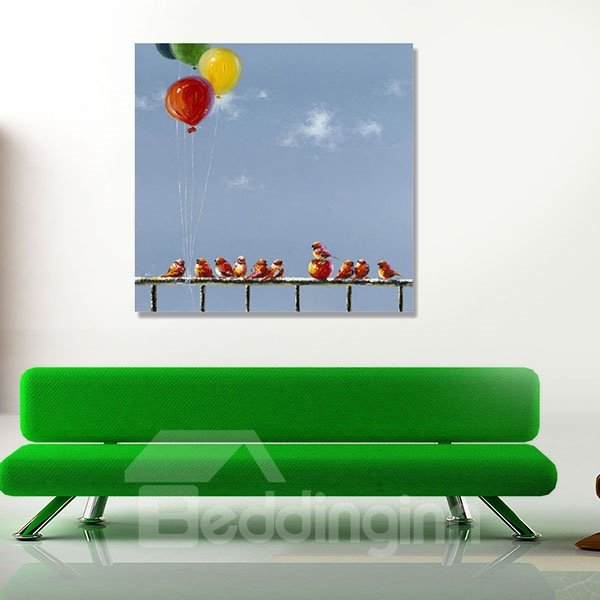 New Arrival Modern Blue Sky and Birds Oil Painting