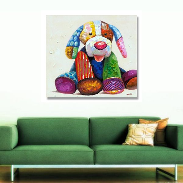 Warm Color Modern Cute Dog Tool Hand Painted Oil Painting