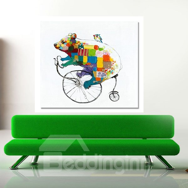 Creative Modern Abstract Bicycle Bear Hand Painted Oil Painting