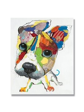 New Arrival Pop Art Big Head Dog Hand Painting Oil Painting