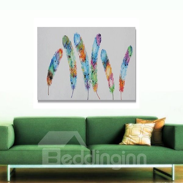 New Arrival Modern Colorful Feather Oil Painting