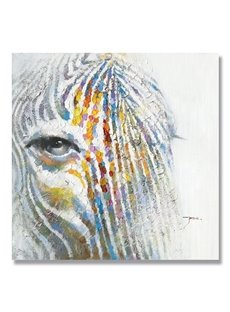 Beautiful Cool Color Abstract Zebra Horse Oil Painting