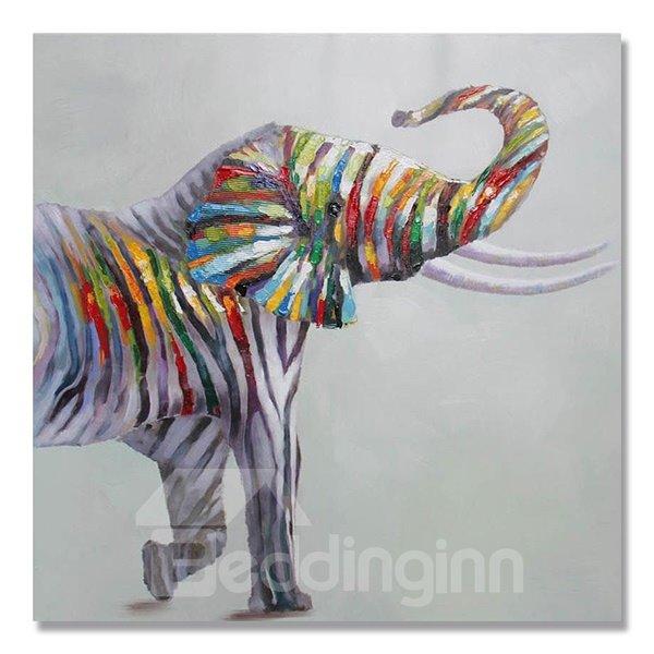 New Arrival Zebra Patterned Elephant Pop Art Oil Painting