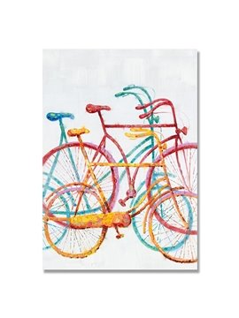 Warm Color Classic Beautiful Bicycle Oil Painting