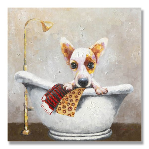 Cool Color Modern Dogs In Bathtub Oil Painting