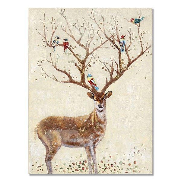 Multicolor Pop Art Deer Ready to Hang Oil Painting