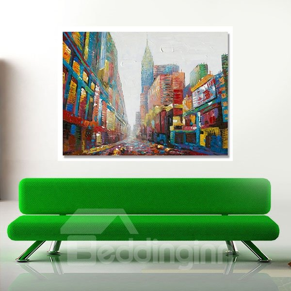Modern European Style City Scenery Hand Painted Oil Painting
