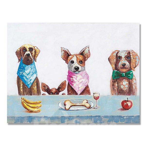 Modern Abstract Interesting Dining Dogs Oil Painting