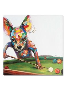 Modern Abstract Dog Play Billiards Oil painting