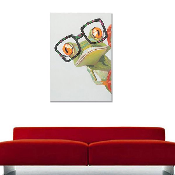 Modern Abstract Frog Hand Painted Canvas with Strecthed Frame Oil Painting
