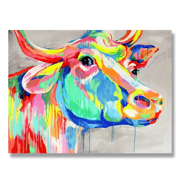 Creative Modern Cow Head Hand Painted Oil Painting