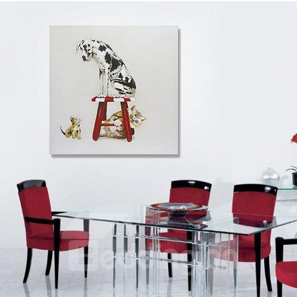 New Arrival Pop Art Interesting Dog on Stool Oil Painting