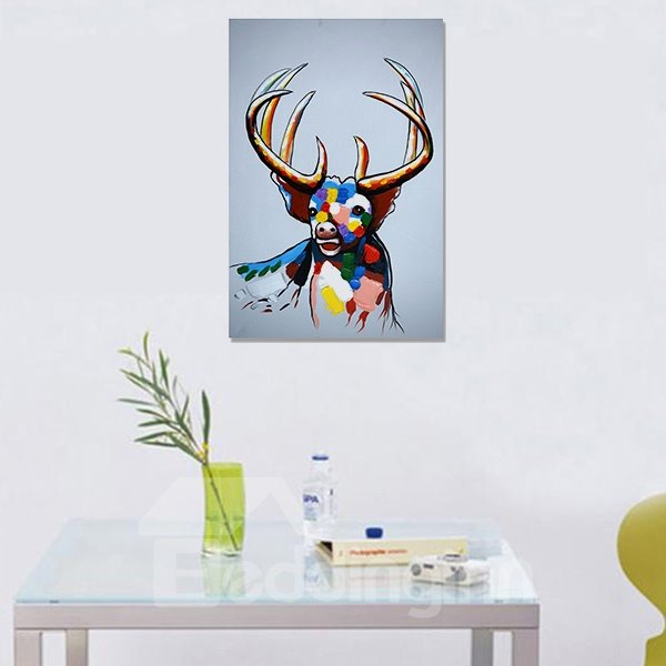 Modern Abstract Deer Pure Hand Draw Ready To Hang Decorative Oil Painting