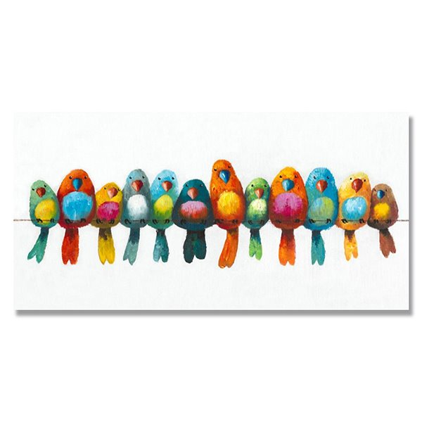 Beautiful Pop Art Birds Ready to Hang Hand Painted Oil Painting