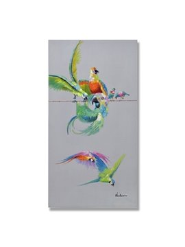New Arrival Hand Painted Parrot Pattern Oil Painting