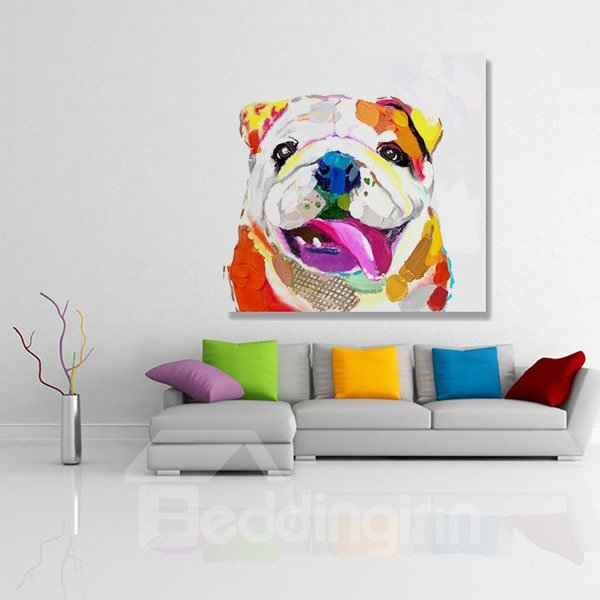 24*24In Bulldog Hand Painted Oil Linen Painting