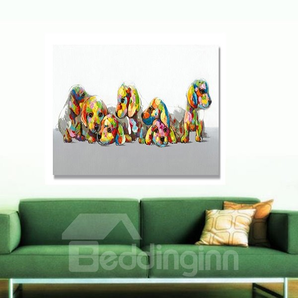 New Arrival Creative Cute Dogs Hand Painted  Oil Painting